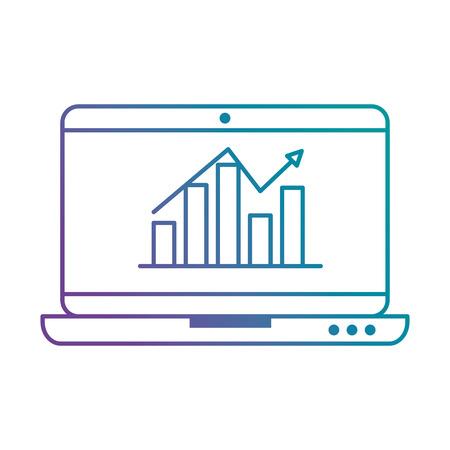 Laptop computer showing a bar graph with an upward trend arrow on the screen Illusztráció