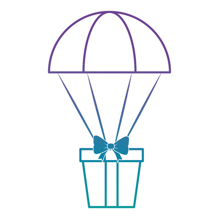 A parachute with gift box vector illustration design