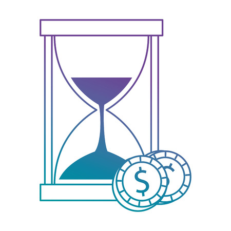 Hourglass time with coins vector illustration design