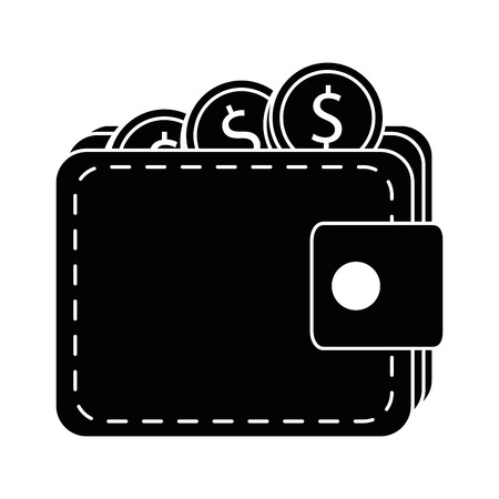 wallet with coin money isolated icon vector illustration design Çizim