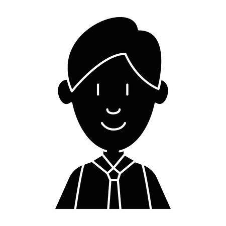 Black illustration of a man smiling