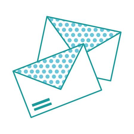 흰색 배경에 cicle 패턴을 가진 두 개의 봉투 일러스트