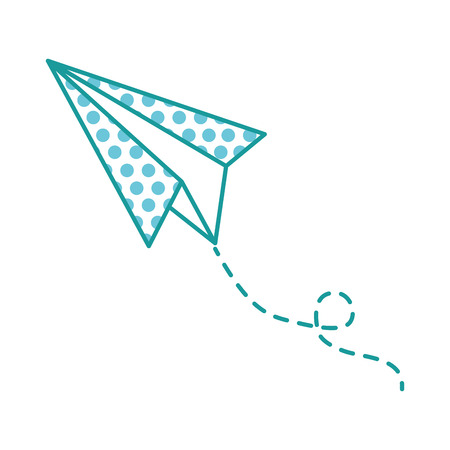 Flying paper airplane illustration with circle patterns