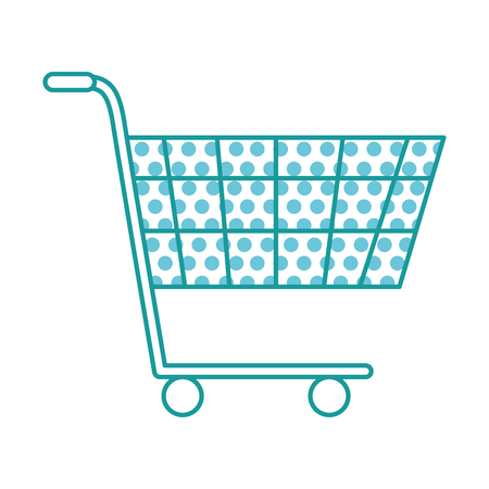 Shopping cart isolated illustration with circles pattern