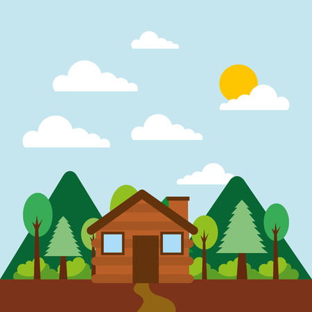 forest outdoor camp cottage mountains vector illustration Illustration