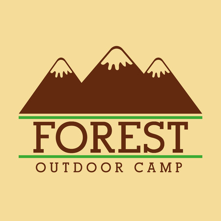 forest outdoor camp mountains emblem template vector illustration