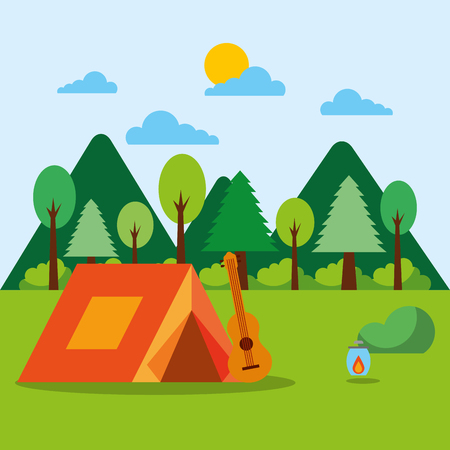 forest outdoor camp tent guitar lantern mountains vector illustration