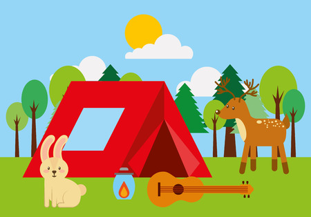 forest outdoor camp tent guitar bunny and deer animals vector illustration
