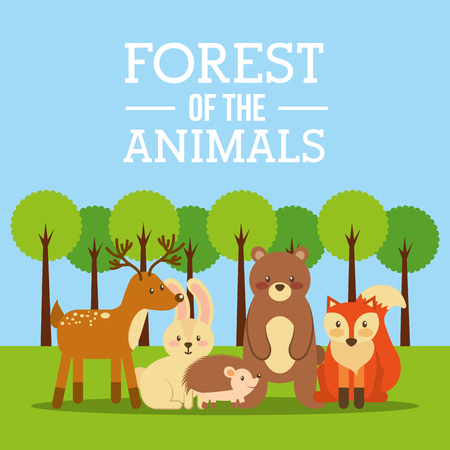 forest of the animals bear deer fox bunny hedgehog vector illustration