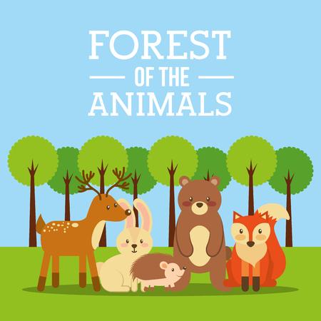 forest of the animals bear deer fox bunny hedgehog vector illustration