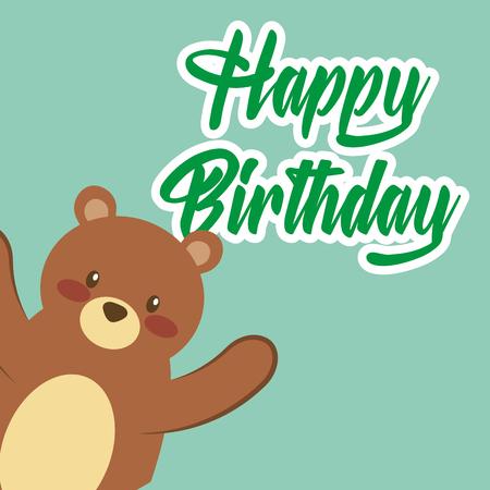 happy birthday card cute teddy bear toy vector illustration