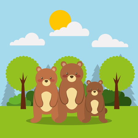 forest of the animals family bears vector illustration Illustration