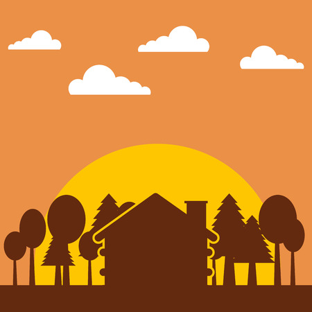 forest outdoor camp silhouette in sunset cottage trees vector illustration