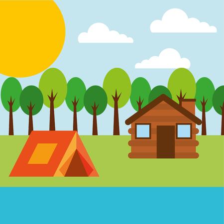 森林屋外キャンプ木製コテージとテント川ベクトルイラスト