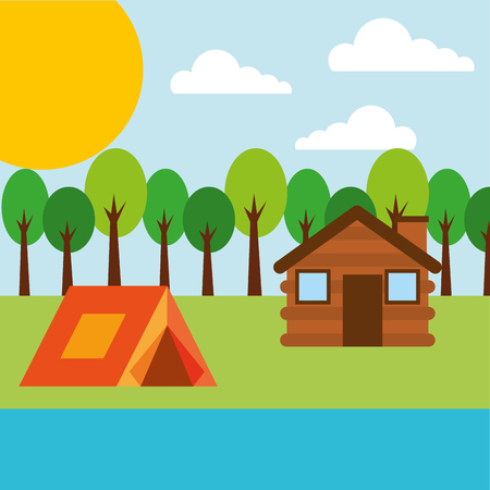 forest outdoor camp wooden cottage and tent river vector illustration Illustration