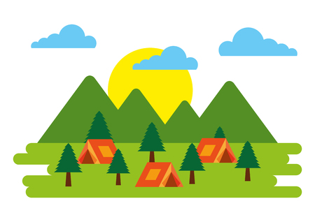 forest outdoor camp field many tents mountains trees vector illustration