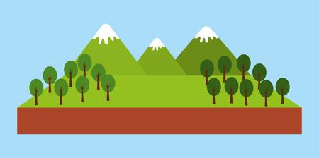 forest outdoor camp mountains trees pine landscape natural vector illustration Ilustração