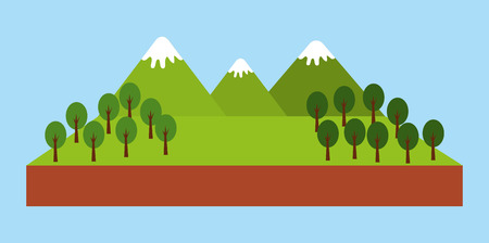 forest outdoor camp mountains trees pine landscape natural vector illustration Illustration