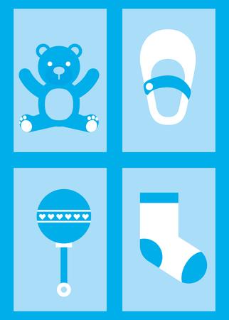 ベビーシャワーカード青クマソックスマラカと靴の少年ベクトルイラスト  イラスト・ベクター素材
