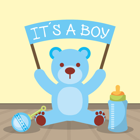 baby shower card blue bear holding board its a boy vector illustration Vettoriali