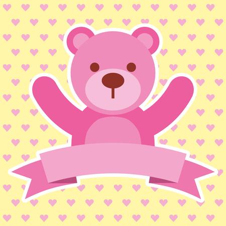 baby shower card cute pink bear vector illustration Stock Illustratie