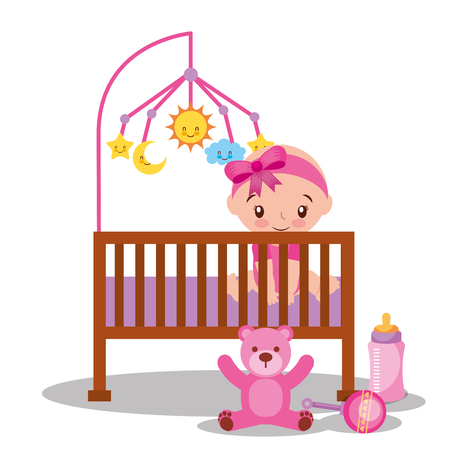 baby shower card little girl in bed bear bottle vector illustration