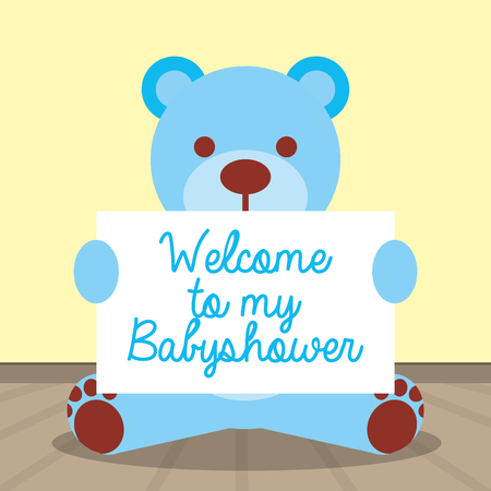 blue teddy bear holding card welcome baby shower vector illustration Illustration