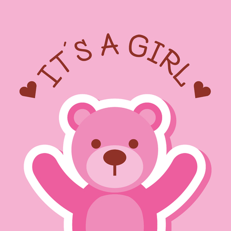pink toy bear it a girl card baby shower vector illustration