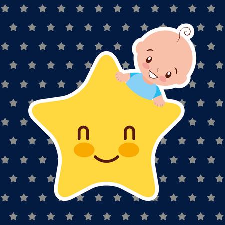 baby shower - little boy with kawaii star cartoon vector illustration