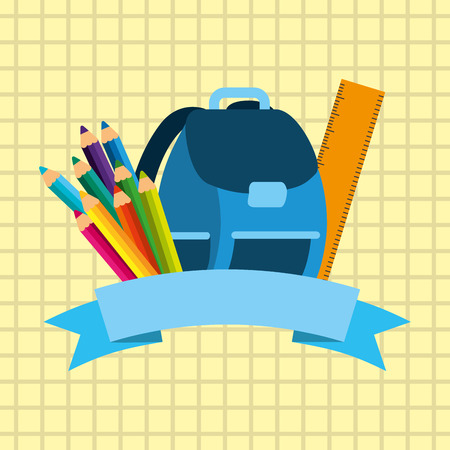 back to school equipment backpack ruler colored pencils on paper vector illustration Stock Vector - 97318577