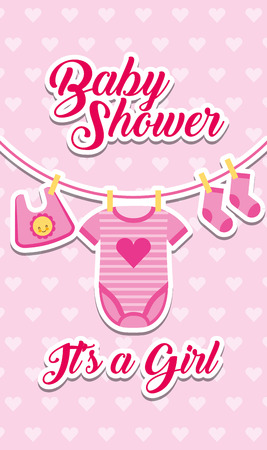 baby shower - its a girl clothes hanging decoration vector illustration