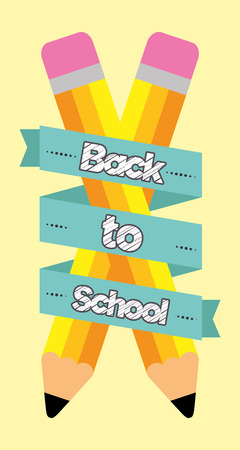 back to school crossed pencils wrapped in ribbon vector illustration Illustration