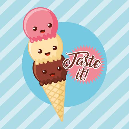 cartoon ice cream taste it vector illustration