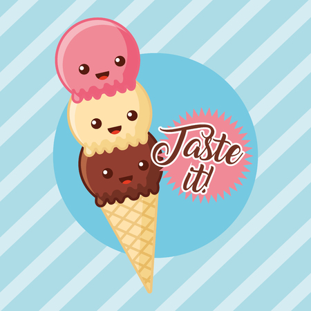 cartoon ice cream taste it vector illustration