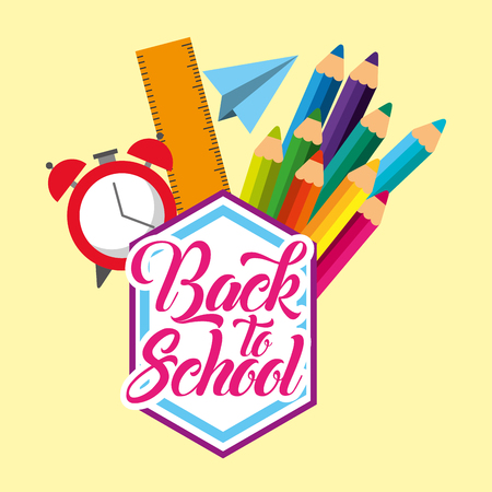 back to school suplies accesories class vector illustration Foto de archivo - 97337224