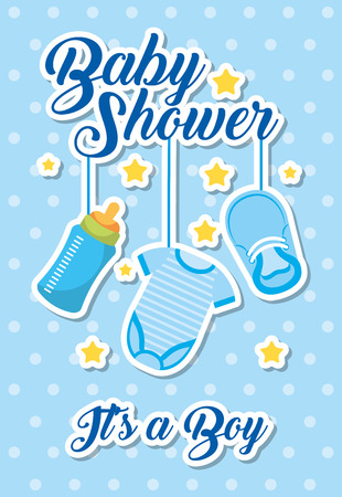 baby shower - its a boy blue clothes bottle and shoe vector illustration
