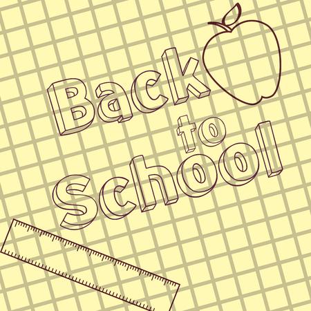 written back to school on grid paper ruler apple vector illustration Ilustrace