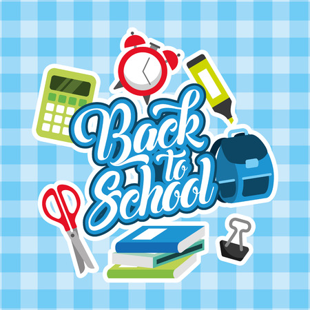back to school card scissors clock calculator backpack marker vector illustration Stock Illustratie