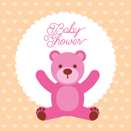 baby shower pink bear teddy toy vector illustration