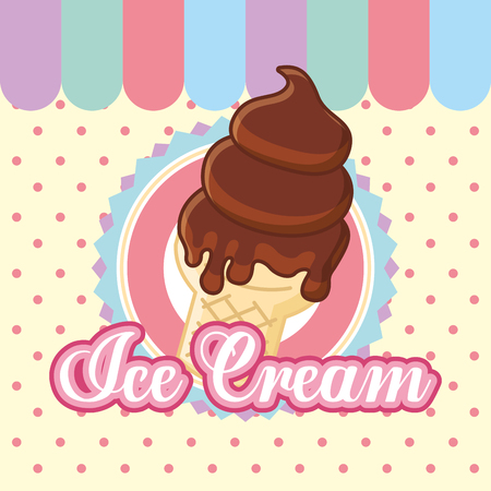 ice cream chocolate melted delicious vector illustration