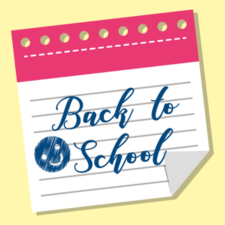 back to school text words writing in piece paper vector illustration 向量圖像