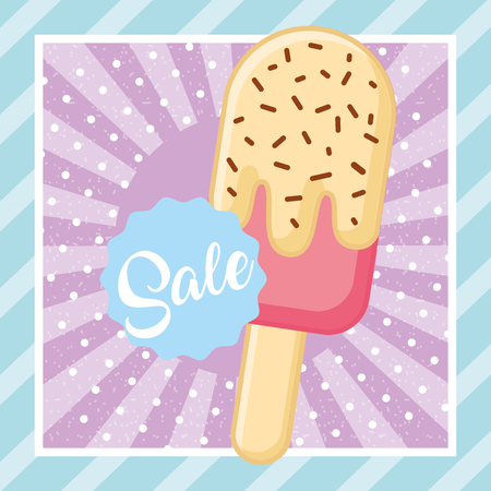 ice cream  chip vanilla sale vector illustration Illusztráció