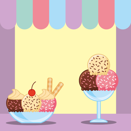 ice cream served in glass cups vector illustration Illustration
