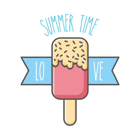 Summer time love ice cream isolated vector illustration Ilustração