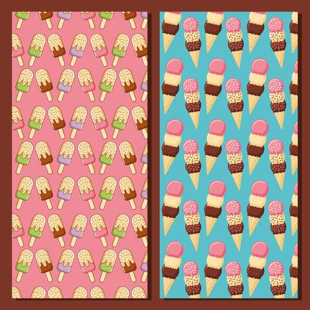 ice cream delicious tasty pattern design vector illustration Ilustração