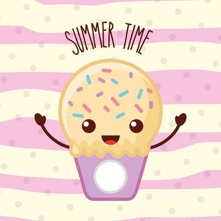 Ice cream kawaii summer time vector illustration Illustration