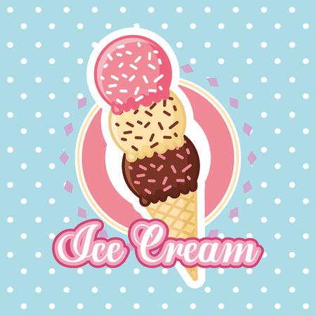 Ice cream cone three flavors vector illustration