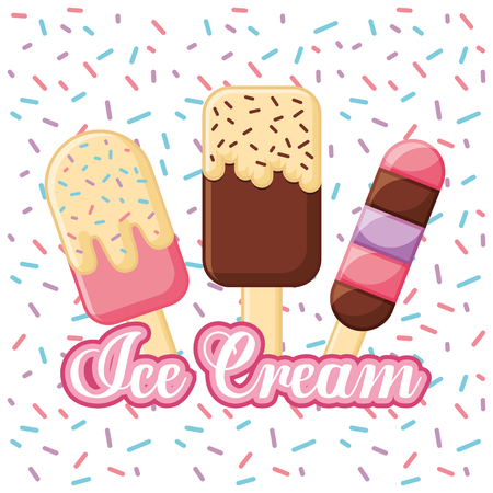Ice cream lolly bar on wooden sticks with chips vector illustration Ilustração