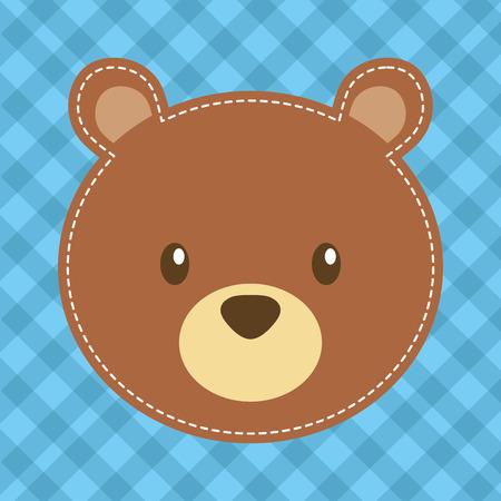 cute head bear teddy bear vector illustration