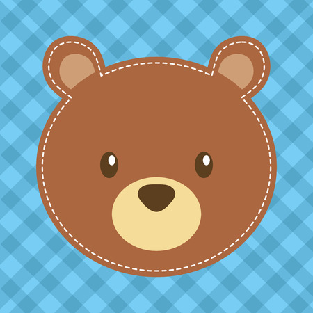 cute head bear teddy bear vector illustration